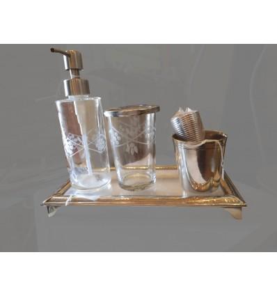 image: bandeja cristal laton plateado