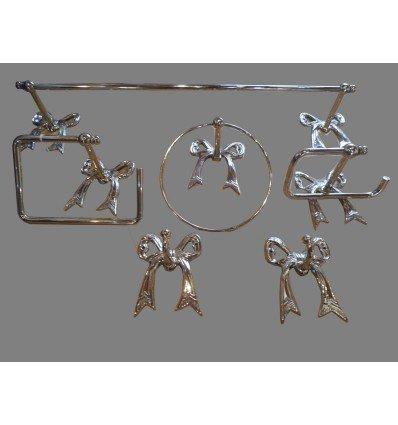 image: Juego accesorios lazo plata
