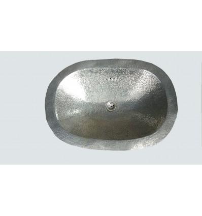 image: Lavabo oval plateado puntos