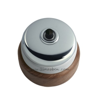 image: Pulsador (timbre) record superfice base madera